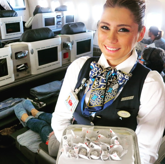As would be expected, flight attendants pass trays of Turkish delight candies during each flight (Photo: Chris McGinnis)