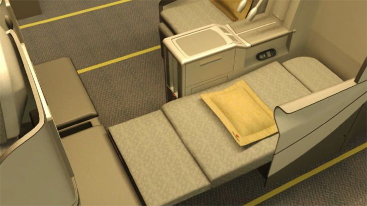 Fully reclined business class seat on an Air China A330-200. (Image: Air China)