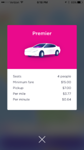 Pricing for Lyft Premier