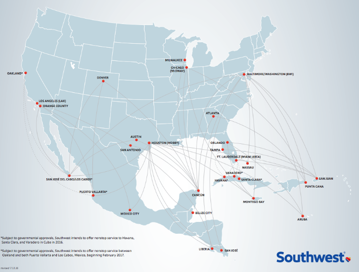 Southwest's current Latin American route map