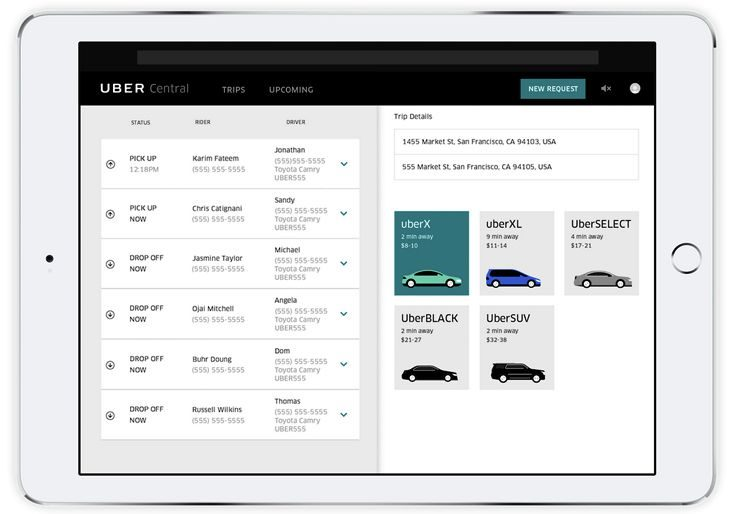 Uber's new tablet app lets companies order rides for customers. (Image: Uber)