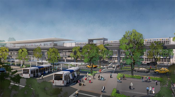 The west intermodal facility will let passengers connect with bus lines. (Image: Los Angeles World Airports)