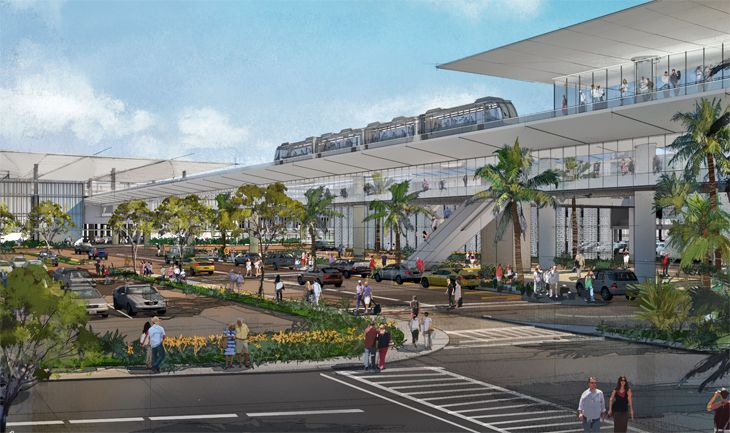The planned east intermodal facility at LAX will connect an automatic people mover with a new light rail link. (Image: Los Angeles World Airports)