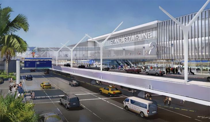 The plan calls for terminals to get new facades as well. (Image: Los Angeles World Airports)