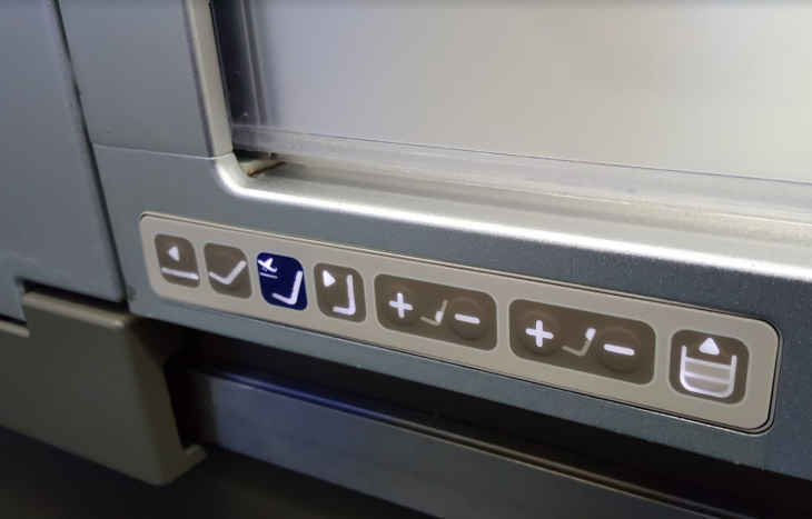 Seat controls business class British Airways