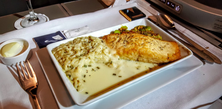Salmon dinner entree in BA business class (Scott Hintz)