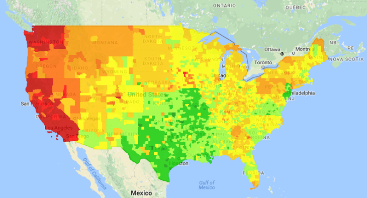 National Gas Price Heat Map (Source: GasBuddy.com)