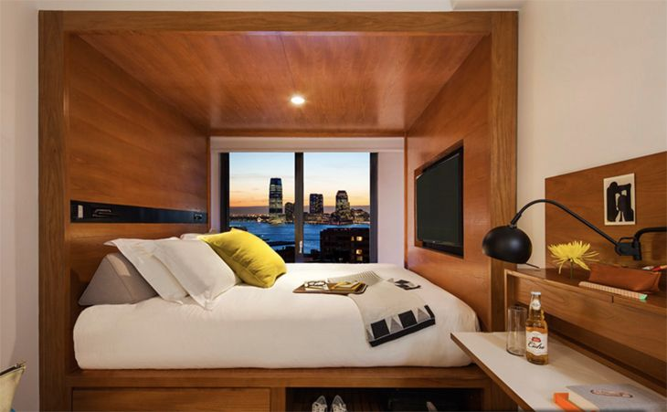 Compact guest rooms are characteristic of the new Arlo in lower Manhattan. (Image: Arlo Hotels)