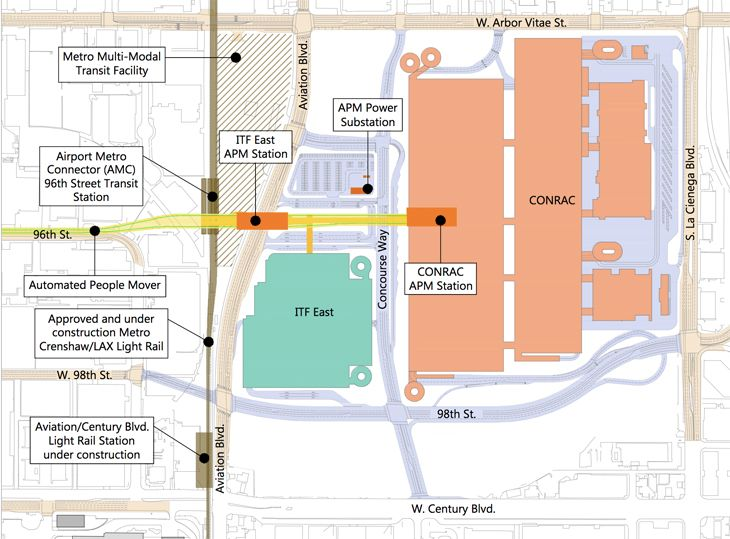 This map of the east side of LAX shows the planned consolidated rental car center, intermodal station, light rail line running top to bottom and peole mover running right to left. (Image: Los Angeles World Airports)