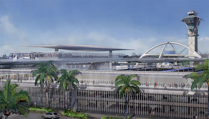 An automated people-mover station with LAX's iconic theme building in the background. (Image: Los Angeles World Airports)