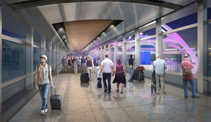 New walkways woll link people-mover stips with the adjacent passenger terminals. (Image: Los Angeles World Airports)