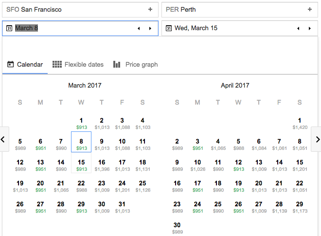 Google flights showing SFO-Perth for just $914 in March and April