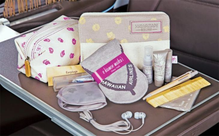 Premium Cabin flyers will get bountiful amenity kits. (Image: Hawaiian Airlines)