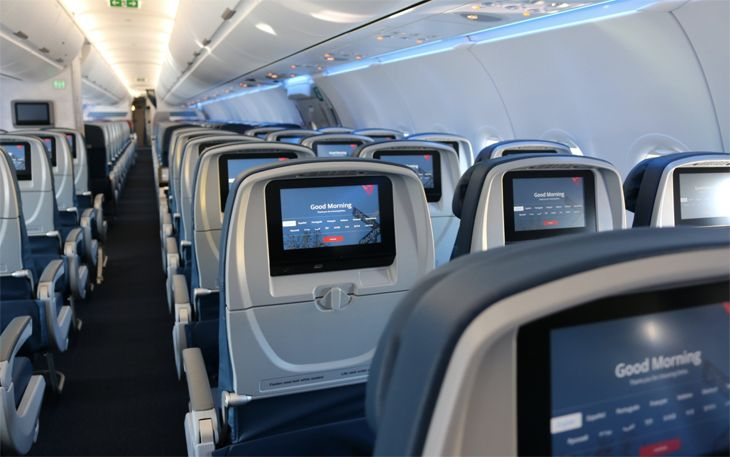 The interior of Delta's new Airbus A321. (Image; Delta)