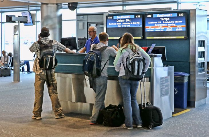 The right approach to a gate agent could get you home earlier. (Image: Jim Glab)