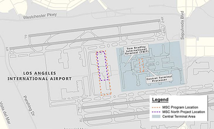 The new satellite concourse is just wwest of the Bradley Terminal. (Image: Los Angeles World Airports)