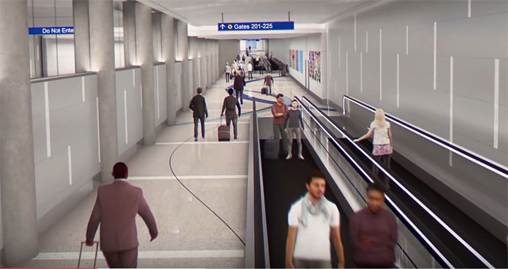 A tunnel will link the new concourse to the Bradley Terminal. (Image: Los Angeles World Airports)