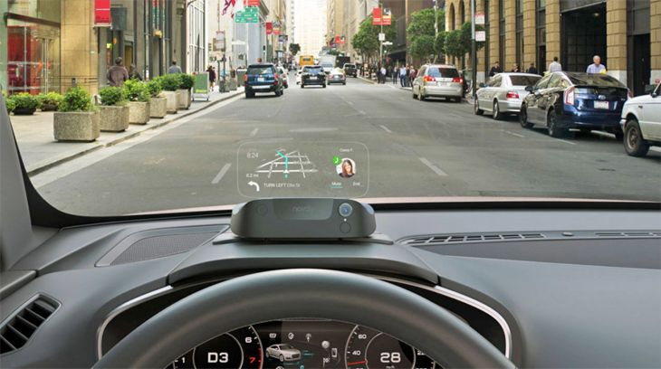 The smartphone-linked Navdy device gives drivers a heads-up display. (Image: Navdy)