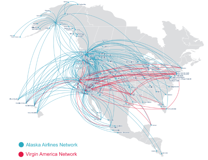 The combined networks of Alaska Air and Virgin America