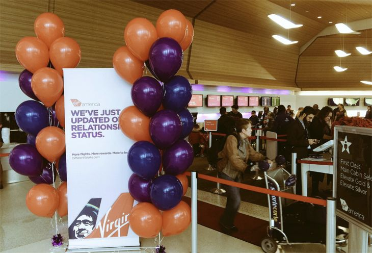 Alaska/Virgin broke out the balloons at the SFO announcement. (Image: Chris McGinnis)