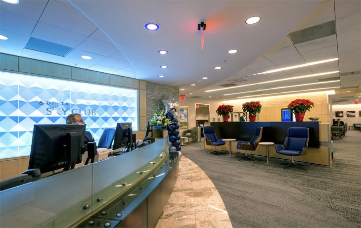 The reception desk at Delta's Raleigh-Durham Sky Club. (Image: Delta)