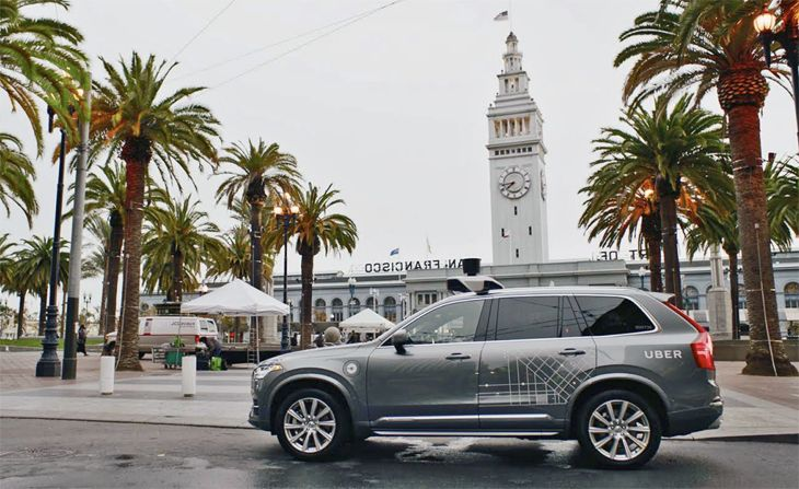 A driverless UberX Volvo near San Francisco's ferry terminal. (Image: Uber)