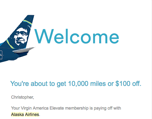 Screenshot of email from Alaska Airlines