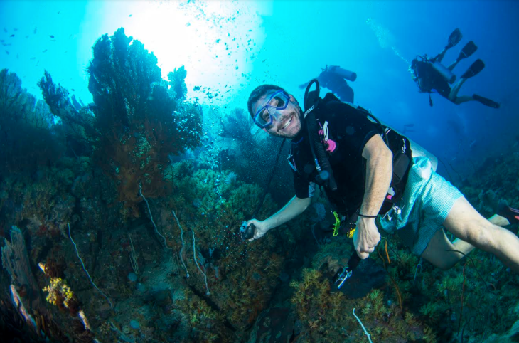 Jason scuba diving in off the coast of Myanmar