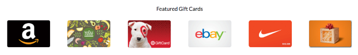 The top tier of about 50 gift cards you choose from when booking with Upside- CLICK for full list