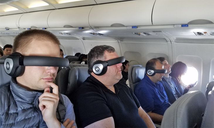 United passengers test the Glyph headset. (Image: Avegant)