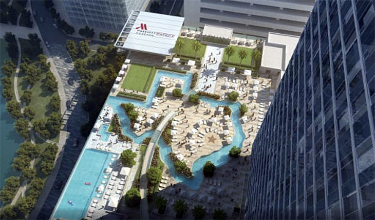 The outdoor terrace at the new Houston Marriott Marquis.(Image: Marriott)