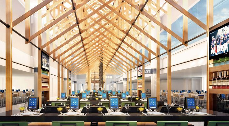 Rendering of new Tanglewood Grille at Houston Bush Intercontinental, with lots of iPads. (Image: OTG)