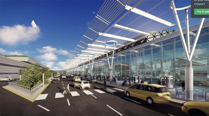 The redesign would bring parking closer to terminals. (Image: New York Governor's Office)