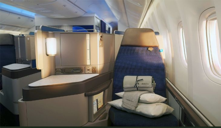 A window seat in United's new Polaris business class. (Image: United)