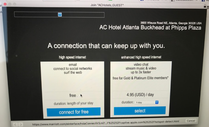 Marriott AC hotels wifi