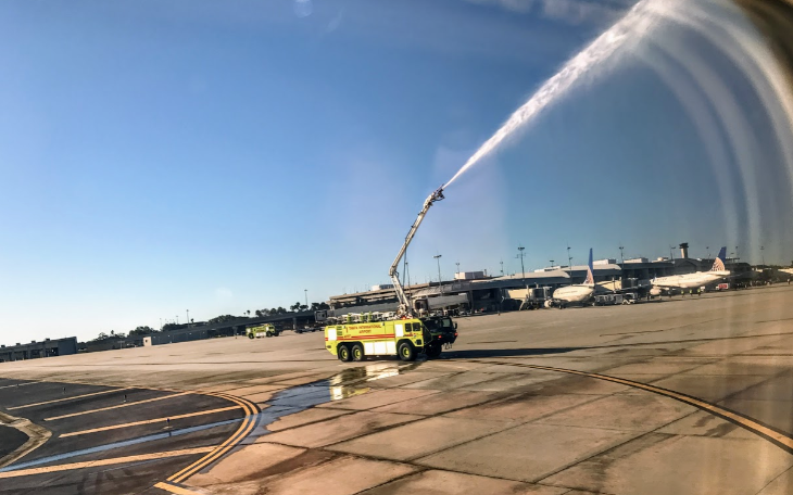 Airline water salute