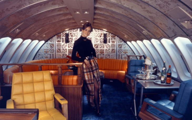 United 747 flight attendant maxi-skirt