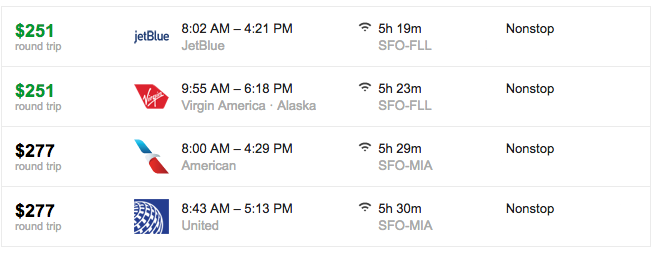c7db0c0249c3 Check out these great deals on fall winter flights to Fort Lauderdale or  Miami from SFO (Image  Google Flights)