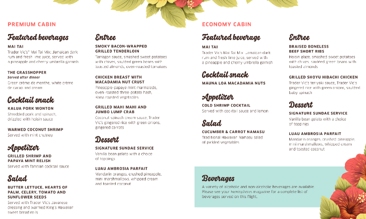 fe3cab404e3d A special Hawaiian style menu for United s final 747 flight to HNL (Image   United)